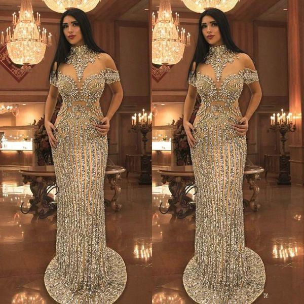 Lüks Rhinestone Kristaller Gelinlik Modelleri Yüksek Boyun Boncuk Kısa Kollu Sparkly Mermaid Balo Elbise Çarpıcı Dubai Ünlü Abiye