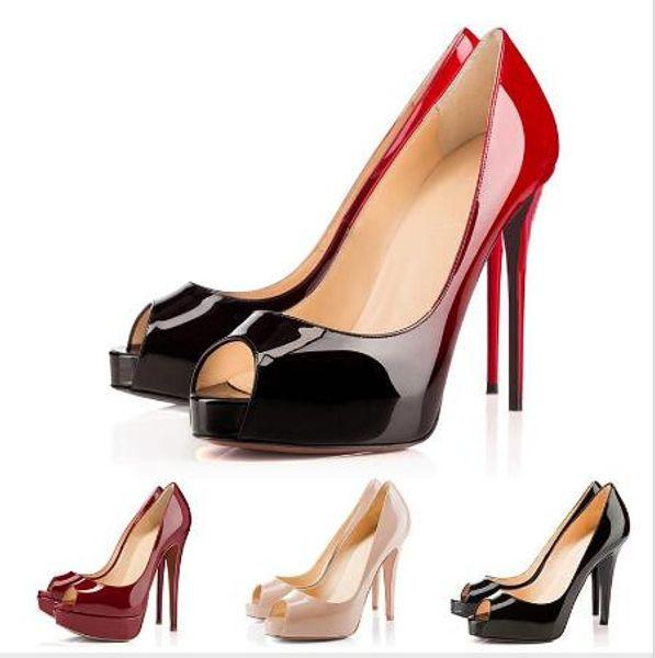 Großhandel mit den beliebtesten klassischen klassischen Damen Heels Akt / schwarz Lackleder Peep-Toe Kleid Sandalen Party Damen Schuhe