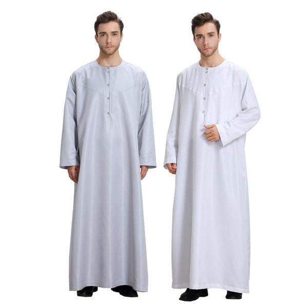 4d2f95833f 2019 Men Long Sleeve Muslim Jubba Thobe Mid Eastern Arab Robe Dress Solid  Plus Size Islamic Clothing Men Thobe Jubba From Whitecloth, $22.6 | ...