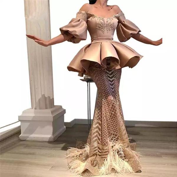 Unique Design Islamic Dubai Arabic Mermaid Evening Dress Middle East Long Prom Gown Custom Made