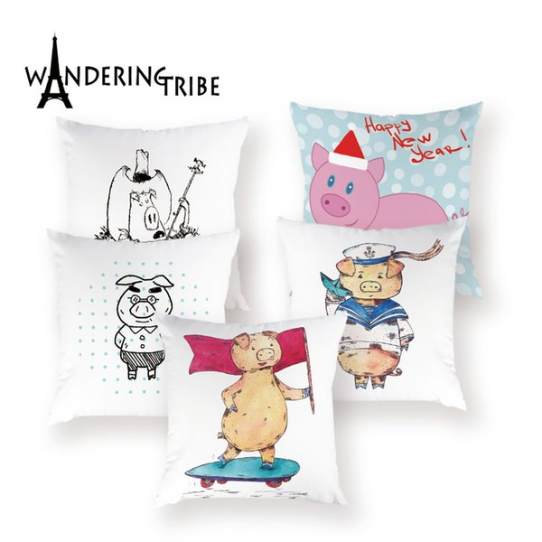 Cute Animal Cushions Cover Cartoon Pig Throw Pillows Childrens Cushions Decorative Sofa 45 X 45 Cm Plain Living Room Pillow Case