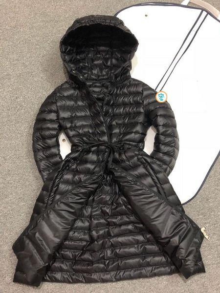 2019 marca ragazza Duck down parka per donna inverno famoso piumino piumino lungo Cappuccio nero Luxury Slim fit abbigliamento donna