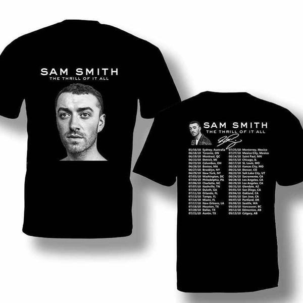 Maglietta Vendita poco costosa 100% cotone Sam Smith Tour 2019 T-shirt casual da uomo o collo corto