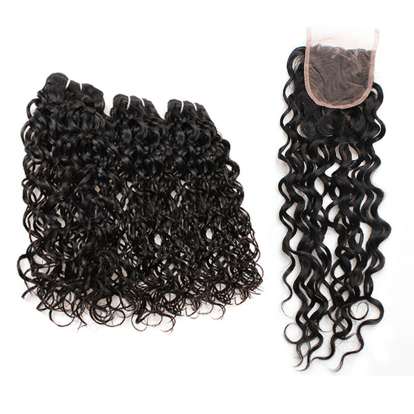 Brazilian Water Wave 3 4 Bundles with Lace Frontal Peruvian Water Wave Human Hair Bundles with Closure Weaves Hair Extensions Natural Color