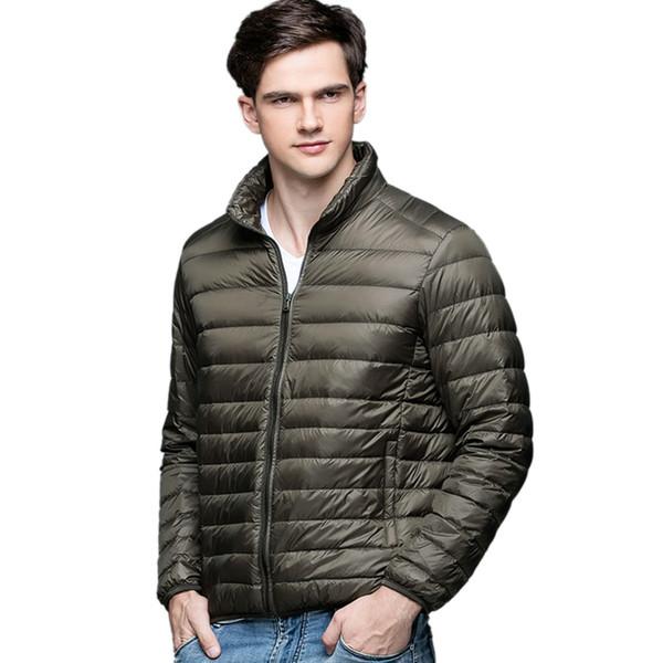 Moda-Hombre de invierno Duck Down Jacket Ultra Light Thin Tallas grandes Chaquetas de primavera Hombres Stand Collar Prendas de abrigo Escudo color sólido tamaño S-3XL