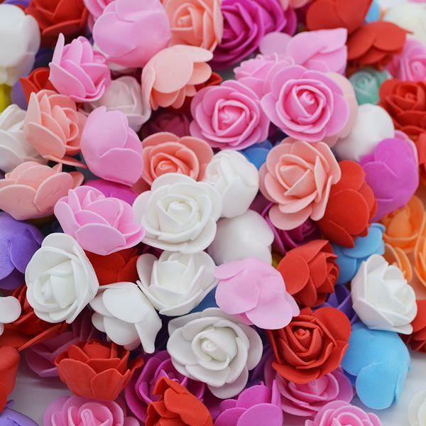 50Pcs/lot 3.5cm PE Foam Rose Head Artificial Rose Flowers Home Garden Decorative Wreath Supplies Wedding Event Party Decoration