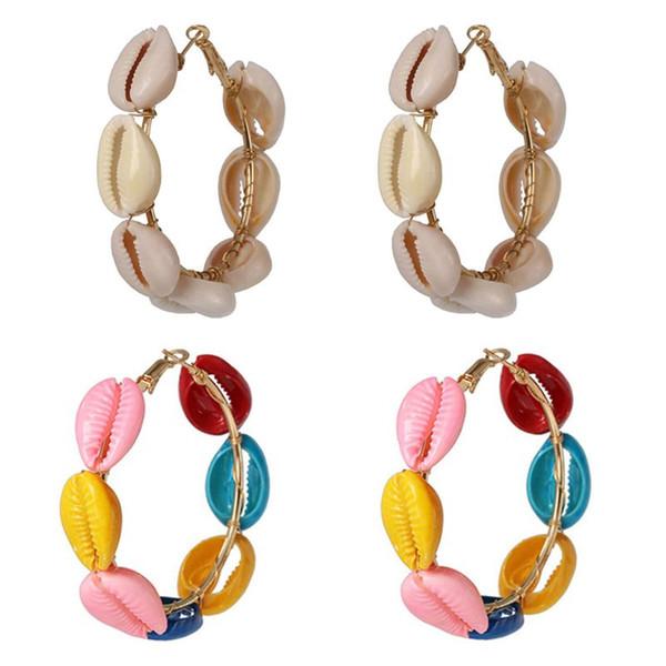 Mujeres de la moda Concha Colgante Pendientes Redondos Estilo de Playa Elegante Señora Pendiente Shell Ear Jewelry
