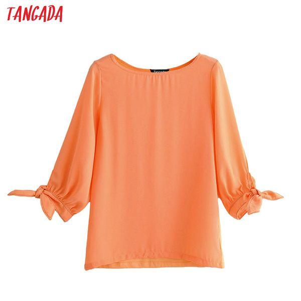 Tangada mujeres coreanas naranja blusa de 2019 del verano o del cuello arco dulce camisas de manga lazo elegante Superior Femenina JN272