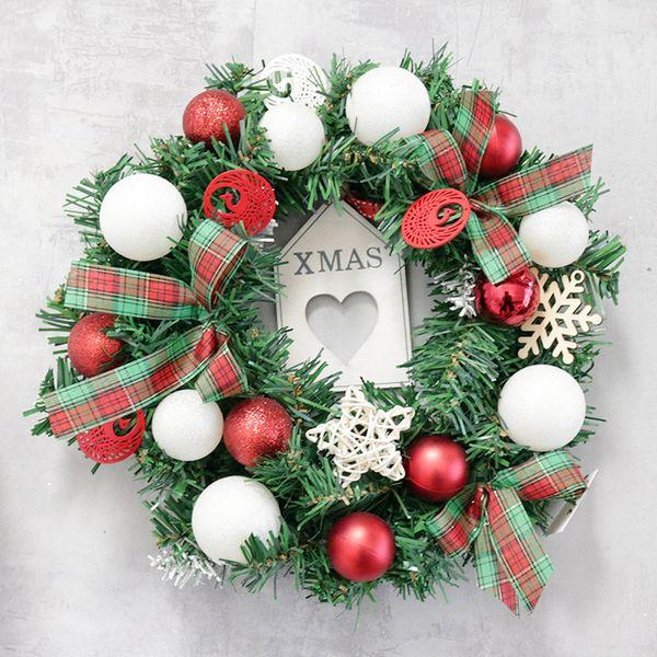 30cm christmas wreath plaid bow ball snowflake christmas wreath door wall ornament garland festival decoration guirnalda navidad
