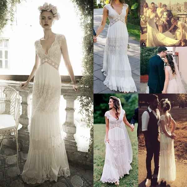 Abiti da sposa Boho modesto 2019 Spring Garden Paese scollo a V con maniche corte Pizzo Paillettes Vestido De Novia Abito da sposa Abiti da sposa
