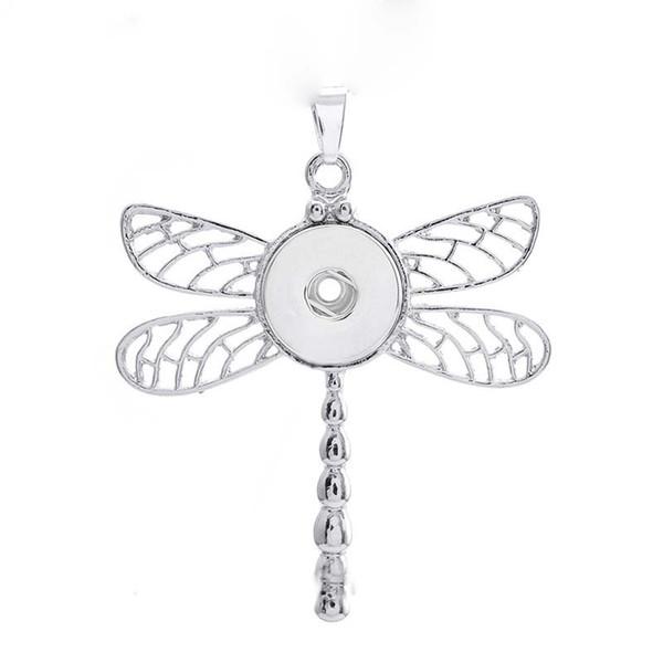 Fashion Interchangeable Metal Dragonfly Ginger Crystal Necklace 159 Fit 18mm Snap Button Pendant Necklace Charm Jewelry For Women Gift