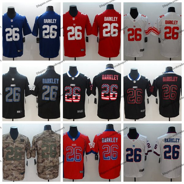 sneakers for cheap ba159 de6fc 2019 2019 Camo Salute To Service New York 26 Giants Saquon Barkley Football  Jerseys Saquon Barkley Blue Vapor Untouchable Shirt From Redtradesport, ...