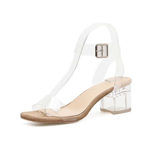 PVC Jelly Sandals Crystal Leopard Open Toed High Heels Women Transparent Heel Sandals Slippers Square heel zapatos