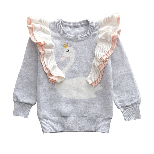 2019 New Baby Girl little Swan Sweat Autumn Winter Toddler Warm Long Sleeve Sweater Tops Blouse Clothes
