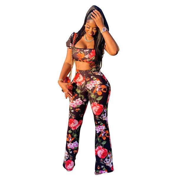 new women sets summer floral print U-neck crop top wide leg pants suit two piece set beach casual tracksuit outfit