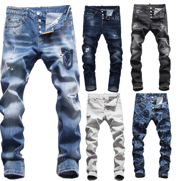 Italian brand big men Mens Cool Designer Brand Pencil Jeans Skinny Ripped Destroyed Stretch Slim Fit Hop Hop Pants With Holes For Men