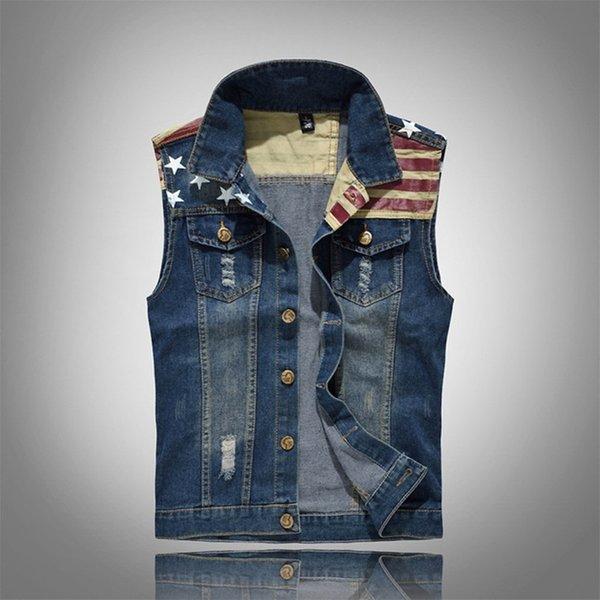 Yaz erkekler Retro Denim yelek moda ince Kolsuz ceket kaban erkek Tek göğüslü Yırtık Delik kot Yelek Marka giyim