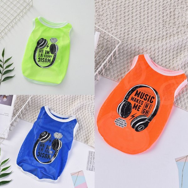 Pet Dog Clothes Dog Mesh Vest Earphone Printed Puppy Shirts Breathable Pet Clothing Summer Pet Supplies 3 Colors Optional YW3897