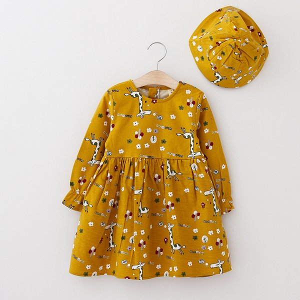 Lovely Printed Long Sleeve Dress with Hat for Girl Cute Baby Outfits Knee Length Casual Dresses 18071102