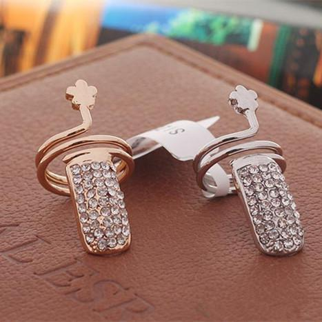 Pop Twisted Pave Rhinestone Finger Nail Ring Tip Jewelry Rings For Women Gold and Silver Best Gifts -P