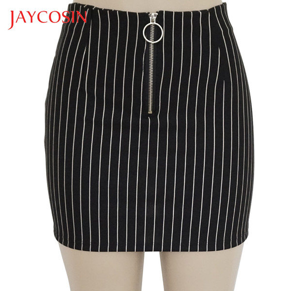 jaycosin fashion party cocktail skirt dresses women ladies summer printed striped skirt pencil silhouette materials, Black