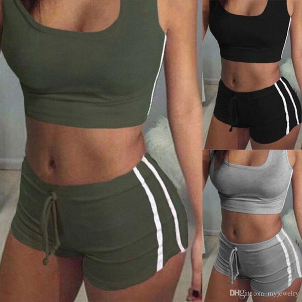 Women Tracksuits Sport Wear Drawstring Shorts Women's Fitness Running Yoga Athletic Suits Top High Waist Short Pants New Arrival CAY0016