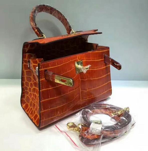 Mujeres icónicas de alta calidad Kellly 20-25-28cm Bolsas de piel de cocodrilo de cocodrilo, cierre con cerradura de giro, herrajes dorados, vienen con bolsa de polvo