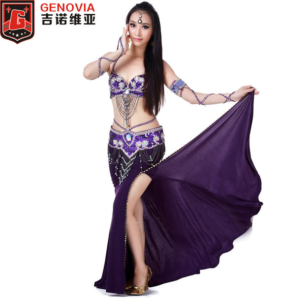 2019 Performance Belly Dance Costume Set 3 Piece Suit Belly Dance Bead Bra & Belt & Skirt Female Oriental Clothes