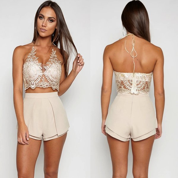 2019 Free shipping Sexy v front lace tank fashion Halter neck with zipper short top white Gold black woman tank top Retail Wholesale