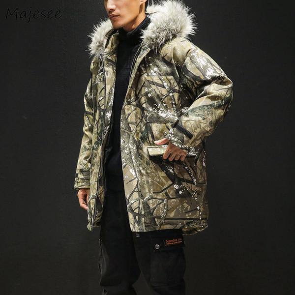 Parkas Men Thicker Plus Velvet Hooded Fur Collar Zipper Long Parka Mens Printing Large Size High Quality Chic Winter Overcoats