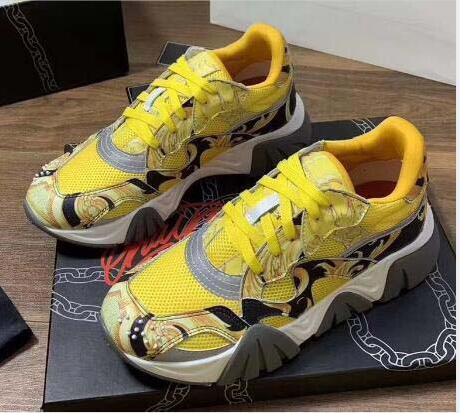 Chain Reaction Designer Shoes de luxe Hommes Femmes Chaussures Medusa Runner Black Leopard White Suede hommes cuir chaussures formateurs n 2