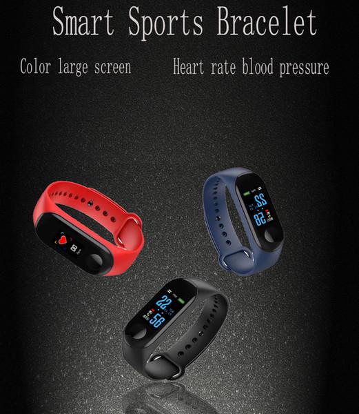2019 Nueva M3 Pulsera Fitness Tracker Heart Rrate Presión Arterial Deporte Reloj Inteligente Hombres Mujeres Para Ios Android + caja J190522