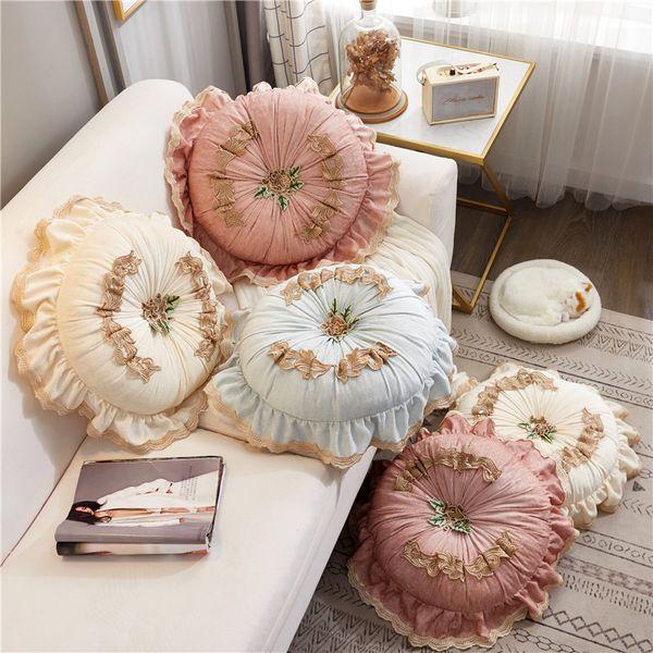 45cm elegant Round pillow cushion lace pumpkin throw pillow sofa decorative cushion backrest bed lumbar lady gift