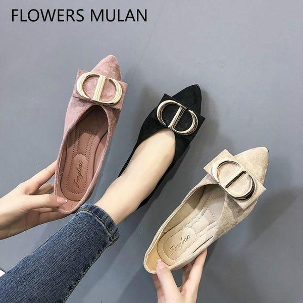 Pembe Siyah Bej Süet Kadın Flats Sivri Burun Yumuşak Kauçuk topuklu Ayakkabı Kadın Metal Toka Loafer'lar Üzerinde Kayma Zapatos De Mujer 2019