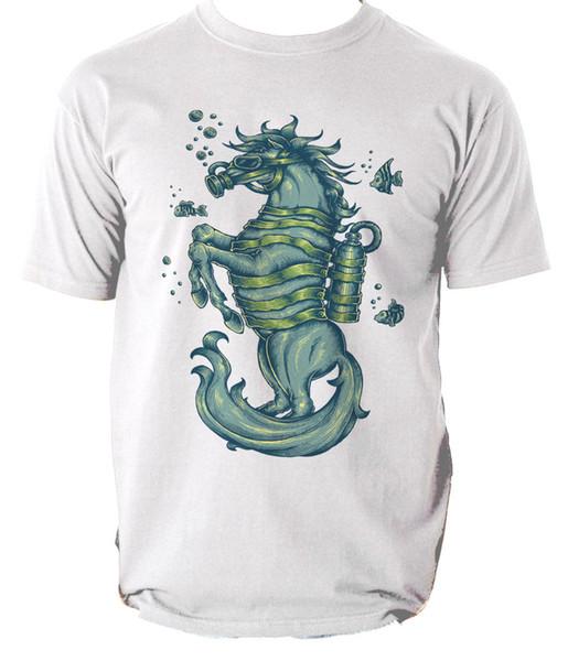 SEAHORSE tişörtlü erkek t-shirt tee Karikatür At Okyanus Deniz Balık S-3XL Komik ücretsiz kargo Unisex Rahat