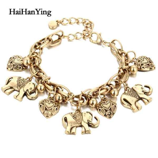 Vintage Bohemian GOLD Elephant Heart Charms Anklet for Women Fashion Chain Gift Pulseira Feminina Jewelry