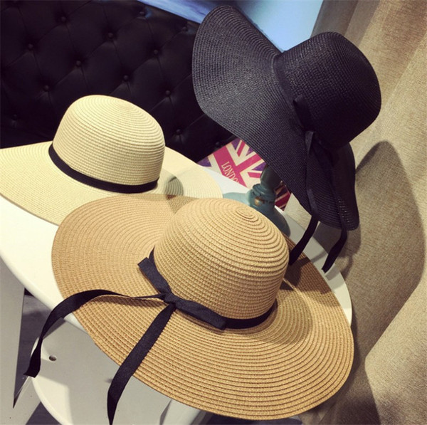 Large Floppy Hats Foldable Straw Bow Hat Foldable Boho Wide Brim Hats Summer Beach Hat For Lady Sunscreen Caps For Women