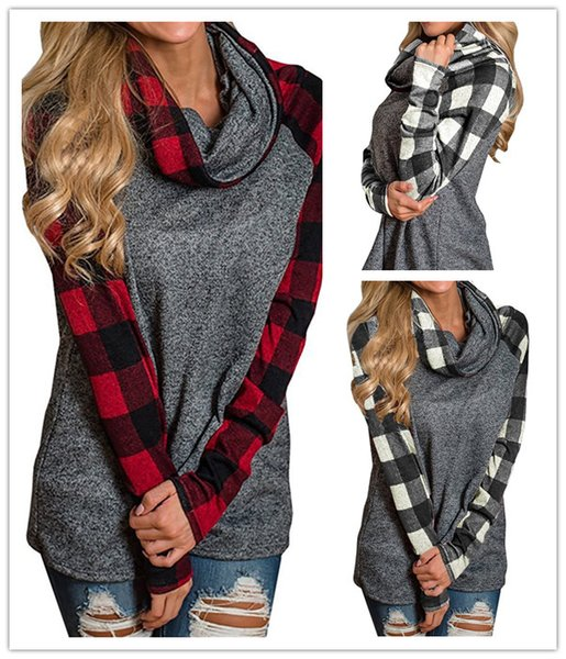 Women Hoodies Pullover Long Sleeve Sweatshirts Heaps Collar Contrast Color Tops Girls Winter Plaid Casual Tops 3 Colors