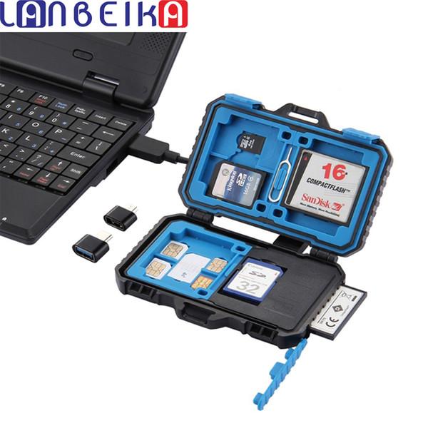 Estuche para tarjetas de memoria LANBEIKA USB 3.0 SD CF TF Reader + OTG Fuction 9/22/27 Ranuras Impermeables SD CF TF Almacenamiento de tarjetas SIM Estuche