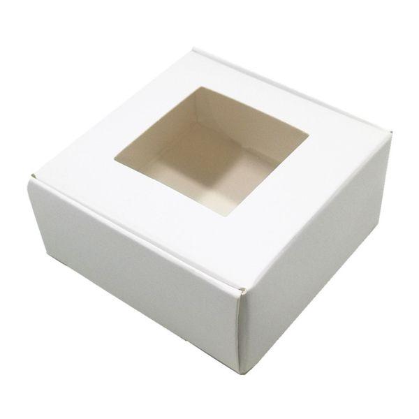 Белые подарки крафт-бумаги коробки пакет с ясно окно площади складная ювелирных изделий ремесло мыло ящик для хранения для рождественской вечеринки