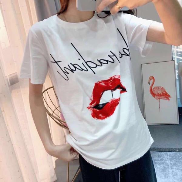 Femmes T-shirts Printemps et Eté Nouveau Col Rond Tops Lettres Imprimer Rouge Lèvres Bite Lip Imprimer T-shirt à manches courtes Femme Mince