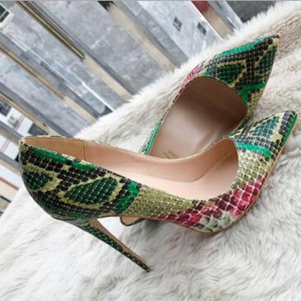 Foto reali Moda Donna Calzature in pelle di serpente verde pitone Scarpe da donna per matrimonio Punta arancione Scarpe tacchi alti sexy Tacchi a spillo 12cm