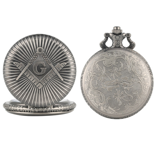 Men's Fashion Gun Color Quartz Analog Pocket Watch Proud Freemasonry Logo Pocket Watch Rough Chain Pendant for Male