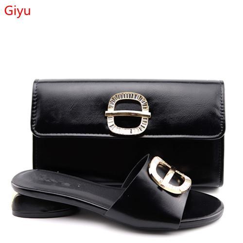 Conjunto de zapatos y bolsos Conjuntos africanos 2019 Zapatos de fiesta de Nigeria de alta calidad y conjunto de bolsos a juego ¡Zapatos de mujer de tacón alto! LO1-71