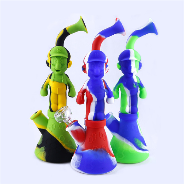 Silicone Water Pipes Mario Silicon Bubbler Bong Recycler Dry Herb Dab Wax Rig Tobacco Smoking Oil Burner Pipes 14mm DHL