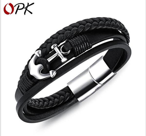 Personalized anchor vintage men's bracelet woven leather rope men's accessories