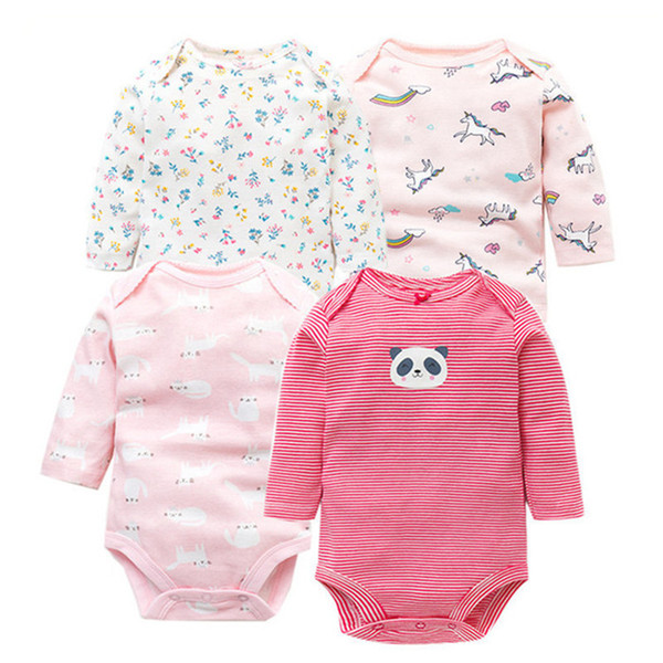 4 Pcs/lot Spring Autumn Baby Rompers 100% Cotton Newborn Baby Clothes For 0-2y Girls Boys Long Sleeve Jumpsuit Baby Clothing Set Y19050602