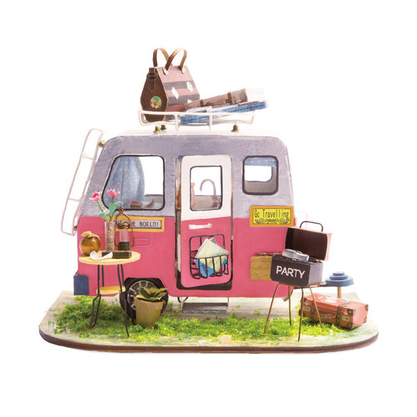 Diy Happy Camper With Furniture Children Adult Miniature Wooden Doll House Model Building Kits Dollhouse Toys Dgm04