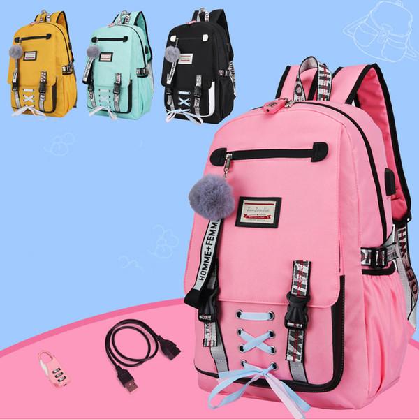 USB de charge des femmes Sac à dos pour ordinateur portable Anti Theft Rose Sacs d'école de Voyage pour Jeunes filles noir mignon Bow ruban