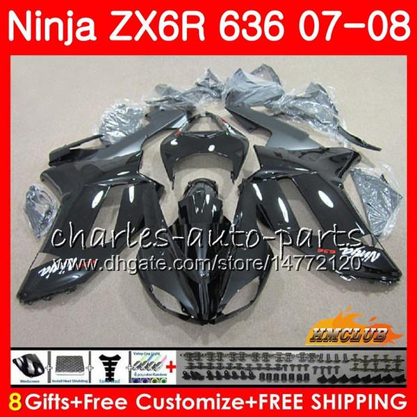 KAWASAKI NINJA ZX 636 Için Zımparalar ZX-600 ZX-6R ZX636 2007 2008 34NO.130 ZX 6R 6 R 07 08 ZX600 600CC ZX-636 ZX6R 07 stok siyah sıcak 08 kaportalar